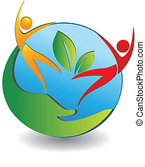 Healthy people care the world logo