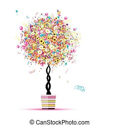 Happy holiday, funny tree with balloons in pot for your design