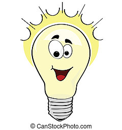 Cartoon illustration of a happy lightbulb, or a happy idea