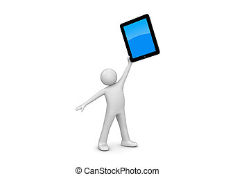 Happy ipad owner (3d isolated on white background characters, IT series)