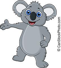 Happy koala cartoon waving hand