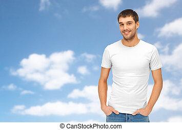 happy man in blank white t-shirt