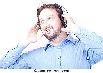 Happy man with headphones