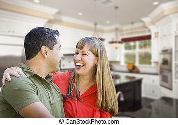 Mixed Race Couple Inside Beautiful Custom Kitchen