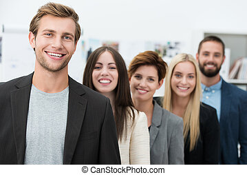 Happy motivated business team