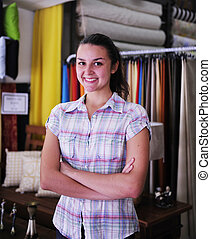 happy owner of fabric store