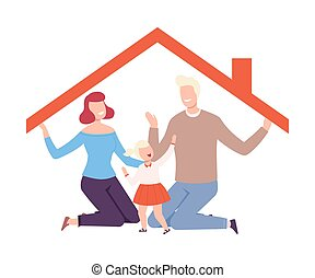 Happy Parents and Their Daughter Holding up the Roof at Home, House Frame with Family Inside Vector Illustration