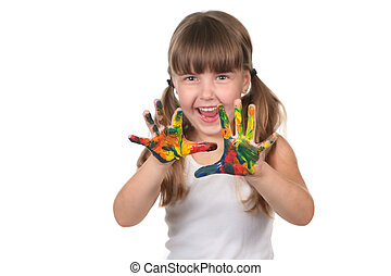 Happy Young Preschool Child With Paint All Over Her Hands
