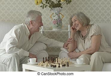 happy Senior couple playing chess