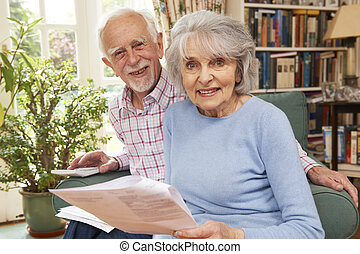 Happy Senior Couple Reviewing Finances At Home