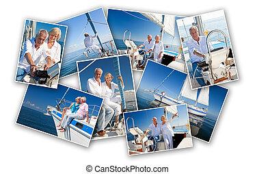 Happy Senior Couple Sailing a Yacht Boat Montage