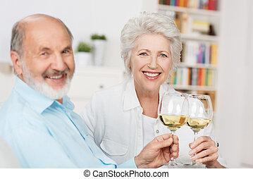 Happy senior couple toasting each other