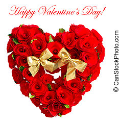 heart of red roses with golden bow