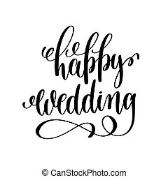 happy wedding black and white hand ink lettering