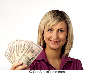 happy woman holding dollars