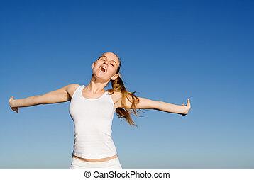 happy woman singing or shouting