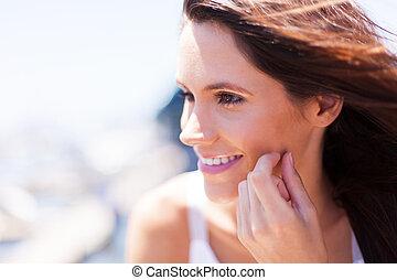woman face closeup outdoors