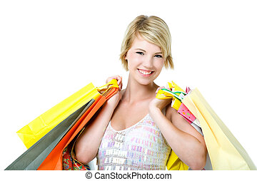 Happy young woman shopping. Isolated over white background.