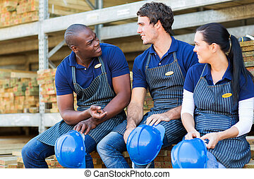 hardware store workers during break