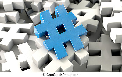 A concept image showing a scattered collection of white hashtags and a single blue one on an isolated studio background