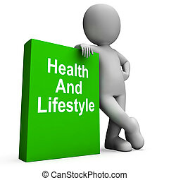 Health And Lifestyle Book With Character Shows Healthy Living