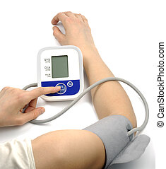 Female hands with blood-pressure meter isolated over white