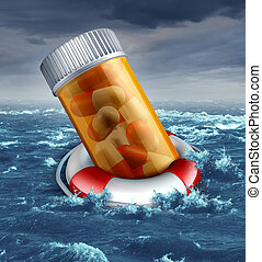 Health care plan risk concept with a prescription pill bottle in a life belt or lifesaver floating in the ocean during a storm as a medical metaphor for patient insurance protection dangers and the drowning costs.