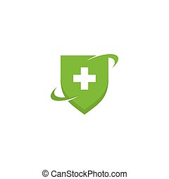 Health Medical symbol with shield Logo template vector illustration