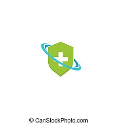 Health Medical symbol with shield protector Logo template vector illustration