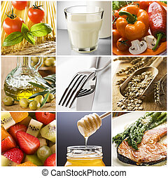 healthy food collage made from nine photographs