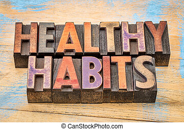 healthy habits words - lifestyle concept
