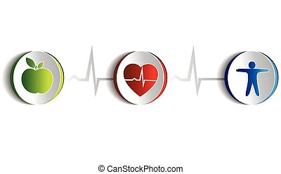 Healthy lifestyle symbol collection. Paper looking design. Healthy food and fitness leads to healthy heart and life. Symbols connected with heart rate monitoring line. Isolated on a white background.