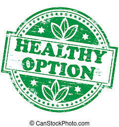 """Rubber stamp illustration showing """"HEALTHY OPTION"""" text"""