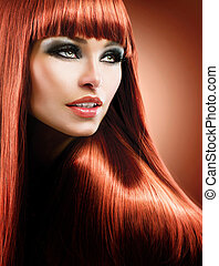 Healthy Straight Long Red Hair. Fashion Beauty Model