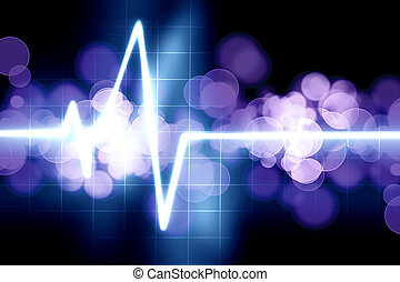 heart beat on monitor on a dark background