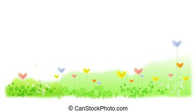 heart flower in green lawn