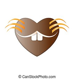 Heart happy Groundhog day. Smile Marmot icon paper love muzzle cut on white background. Accept and Loving the Groundhog with all my heart. Or Valentines day. Vector illustration in design decoration
