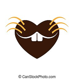 Heart on marmot day. Accept and Loving the Groundhog with all my heart. Valentines day or Groundhog day in design decoration. Vector illustration