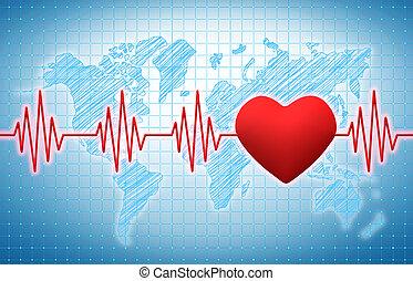 Heart rhythm on a blue medical background