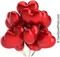 Heart shaped birthday balloons colorful red. Decoration for Love romantic party. Happy married celebration concept. This is a detailed CG three-dimensional 3D render. Isolated on white background