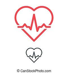 Heart with electrocardiogram pulse graph. Cardiac echo symbol, ECG or EKG examination. Health care concept. Vector outline illustration.
