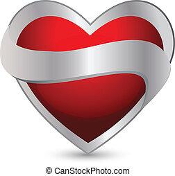 Heart with ribbon logo