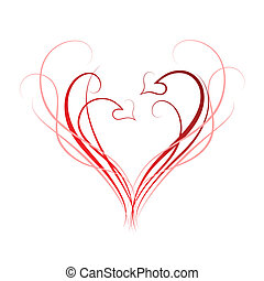 Abstract background of hearts and scrolls