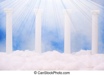 Columns and Clouds With Blue Sky