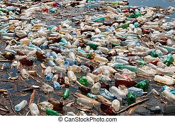 heavy plastic bottle pollution on water lake