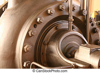Heavy pumping machinery - vintage industrial detail. Retro factory.