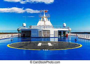 Helipad on upper deck of ship