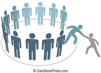 Helper helps friend join group of people members company