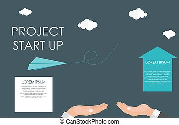 Helping Hand. Quick Start Up Flat Concept. Vector Illustration.
