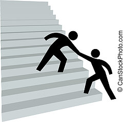 Helping hand to help friend up on stairway to top